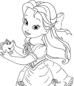 little belle coloring for kids princess coloring pages kidsdrawing