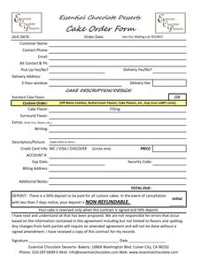 Cake Order Form Template Free Download Google Search