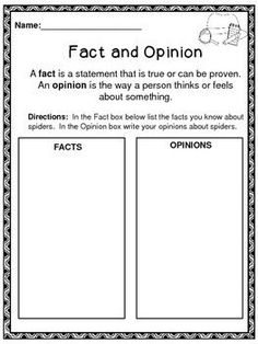 Fact Or Opinion Cut And Paste
