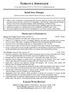 retail management resume examples