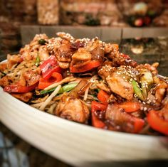 Image result for General Tso's chicken with garlic chive and mushroom noodles