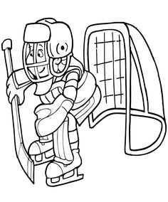 hockey coloring picture goalie more
