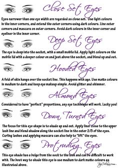 """How to shade your eyes according to shape. As a 23-year-old with hooded eyelids, I will add that when well done, having a light lid and a dark, blended crease also works to """"erase"""" the look of the hooded eyelid. Same with using colour on the lid, or black in the crease. You don't have to just stick to matte neutrals."""