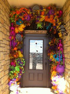 Crazy Bright Colors Halloween Door Decor