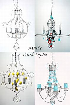 Marie Christophe House Of Many Hues Wire Chandeliers