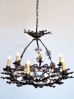 Antique Spanish Iron Chandelier 28 Diam X