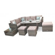 Chelsea Dining Corner Sofa High Back Rattan Furniture Set Natural