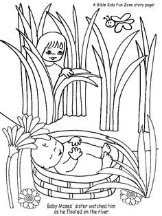 baby moses moses basket and coloring pages on pinterest