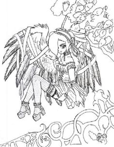 goth anime coloring pages more anime manga colouring anime coloring