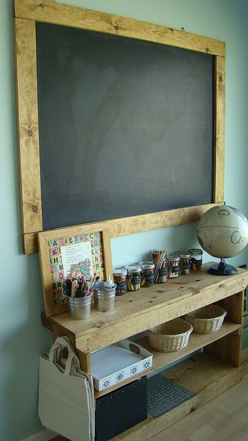 Inspiration For A Homeschool Room Or Writing Nook Links To More Photos Of This Paint Wall With Chalkboard Then Frame It Wood