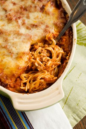 Paula Deen's Baked Spaghetti, better than regular spaghetti. We make and eat
