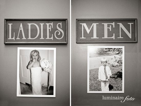 put old pics of {bride and groom} on the bathroom door at the wedding  Funny ide