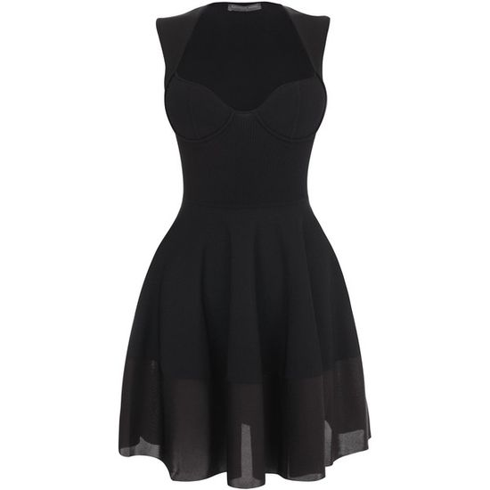 Alexander McQueen Black Exposed Bustier Mini-Dress ($2,165) ❤ liked on Po