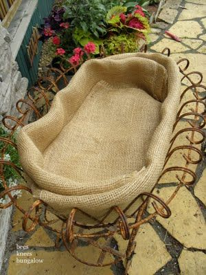 use doubled-up burlap to line open planters instead of costly and stiff coconut
