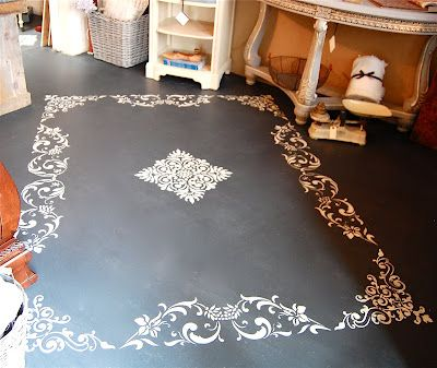 Diy this! Shades of Amber: Chalk Paint Floors, add a little stenciling and a top