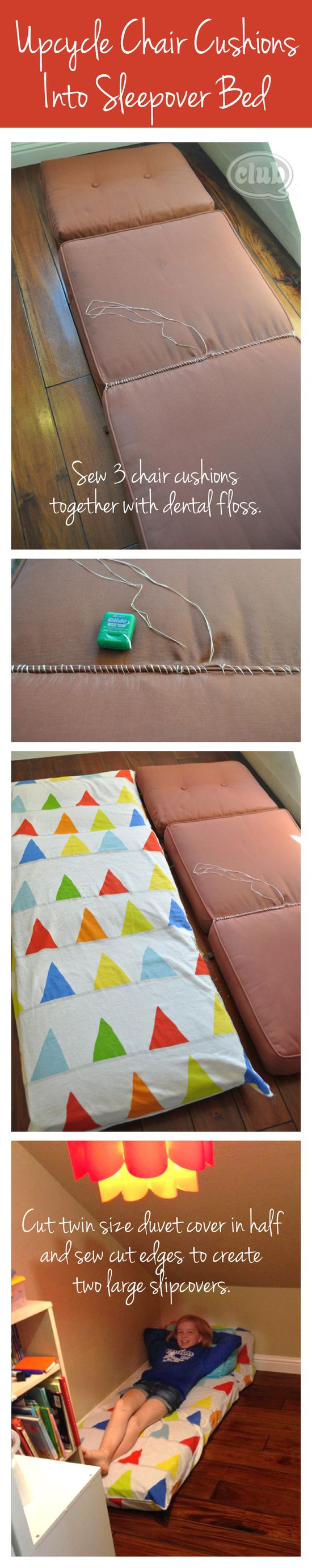 Upcycle outdoor chair cushions into sleeping pads DIY