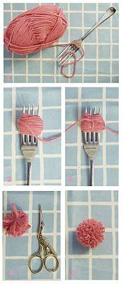 DIY Pom Pom – How to make tiny pom poms with a fork.