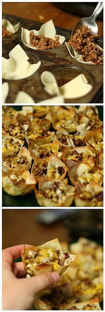 Perfect for football season!!! Mini tacos: Won ton wrappers in muffin tins. Fill