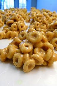Peanut butter Cheerio treats… simple and quick after-school snack!  And we hav