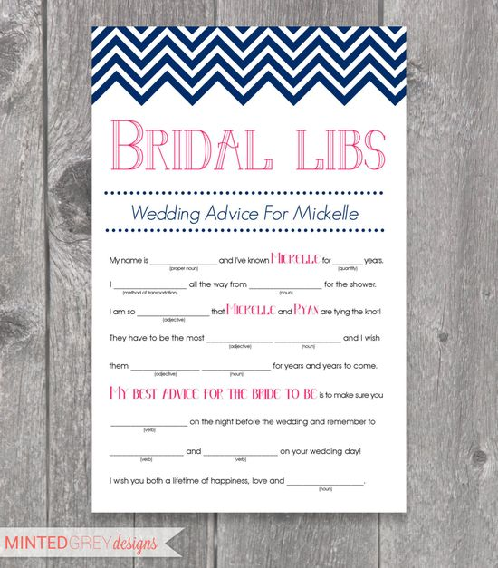 Printable Chevron Bridal Libs Mad Libs Bridal Shower Game. $12.00, via Etsy.