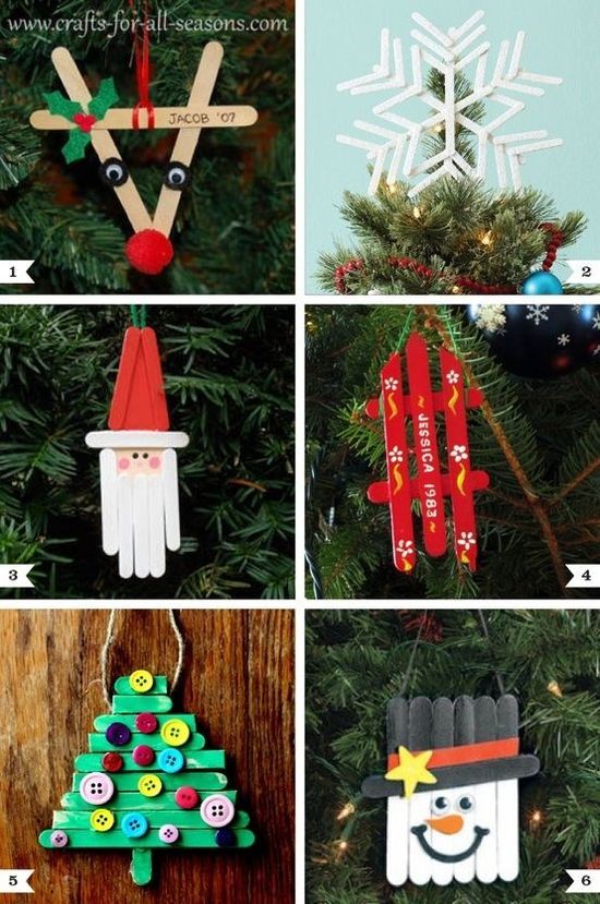 Popsicle Stick Ornaments – 10 Easy Kids Christmas Crafts! #DIY