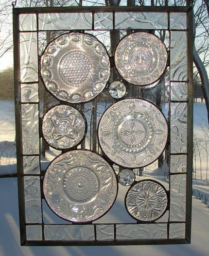 stained glass, using old glass plates
