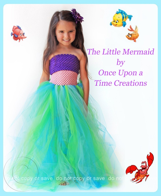 The Little Mermaid Inspired Princess Tutu Dress – Birthday Outfit, Photo Prop, H