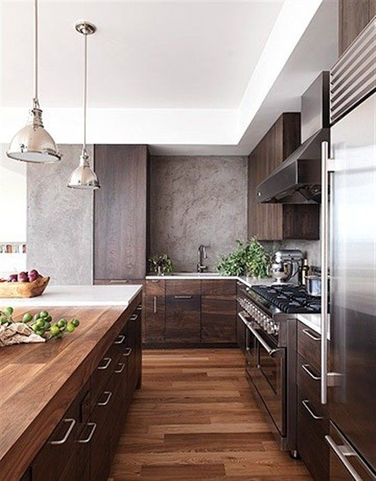 modern kitchen walnut