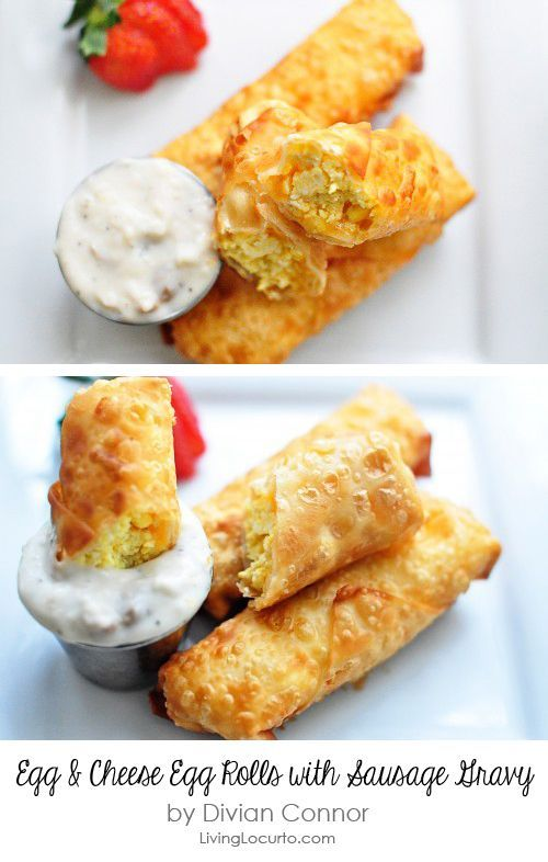Scrambled Eggs & Cheese Egg Rolls with Sausage Gravy #breakfast #recipe by D
