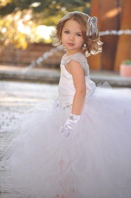 White Elegant Flower Girls Tutu Dress