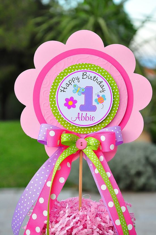 Deluxe XL Girls 1st Birthday Centerpiece Hugs & by thepaperkingdom, $13.00