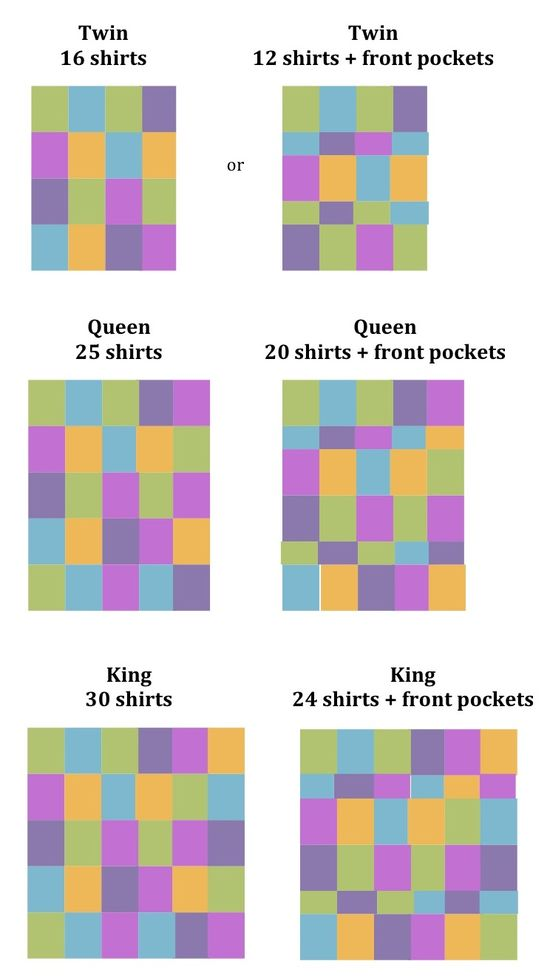 T-Shirt Quilts – good to know how many shirts it takes