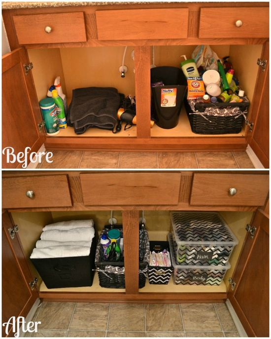 before and after bathroom cabinet organization…