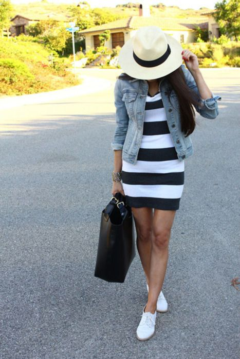 White and black dress with a jean jacket and white shoes. Classic and cute. // W