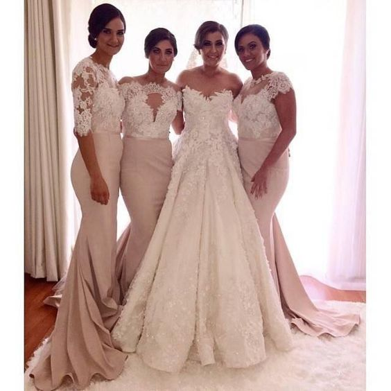 Free shipping, $118.33/Piece:buy wholesale 2016 Newest Design Elegant Mermaid Lace Top Bridesmaid Dresses Two Pieces Appliqued Half Long Sleeves Plus Size Cheap Bridesmaids Gowns from DHgate.com,get worldwide delivery and buyer protection service.: