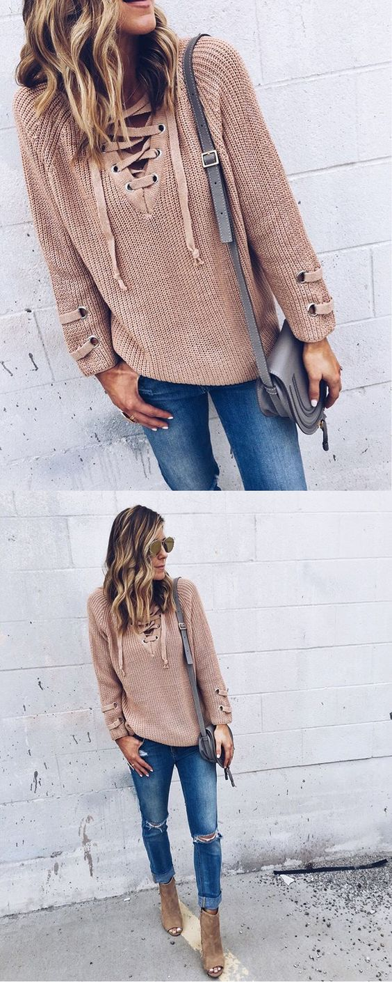 lace up sweater feature by cellajaneblog www.chicwish.com: