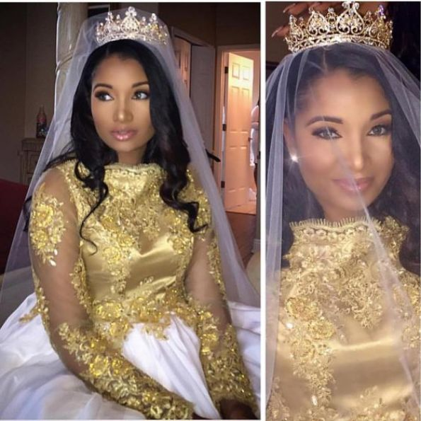Gorgeous #Haitian bride ! #NigerianWedding gold wedding wedding tiara bridal crown black brides: