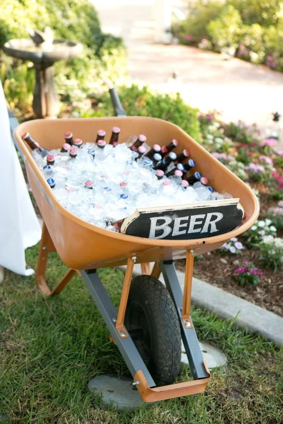 Serve up a wheelbarrow full of cold beer.: