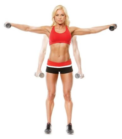 Lateral Raises (deltoid). With a slight bend in your elbows, raise the dumbbells away from the sides of your body until your arms are parallel to the floor.: