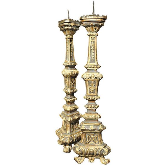 19th C. Pair of Italian Altar Polychromed Candlesticks | From a unique collection of antique and modern candleholders and candelabra at http://www.1stdibs.com/furniture/lighting/candleholders-candelabra/:
