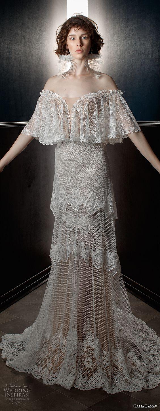 galia lahav spring 2018 bridal off the shoulder angel sleeves sweetheart neckline full embellishment capelet vintage a line wedding dress sweep train (lizzy) mv -- Galia Lahav Spring 2018 Wedding Dresses: