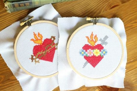 Today I'm thrilled to be sharing 2 new cross stitch patterns with you: The Sacred Heart of Jesus and the Immaculate Heart of Mary–both as free cross stitch patterns. Well, all of a sudd…