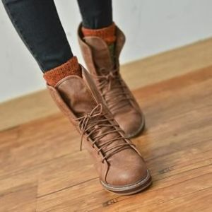 Lace-Up Ankle Boots: