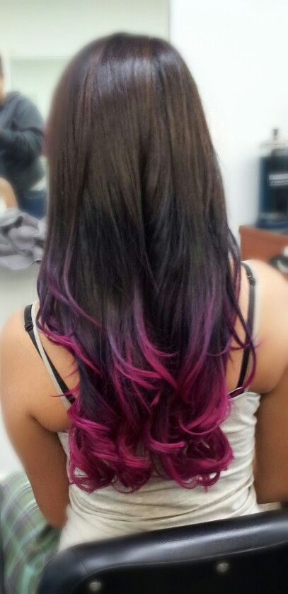 Pink & Purple Ombre I'm in love!! If my ends weren't so dead I'd definitely do this: