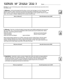 Wwi Causes Learning Activity Worksheet