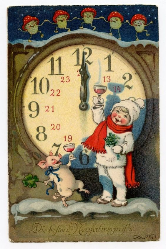 VINTAGE CHRISTMAS POSTCARD. Clock Pigs Mushrooms German