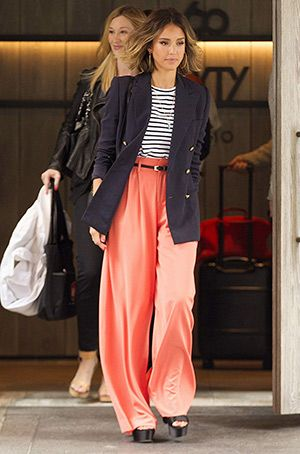 Jessica Alba leaving her hotel in New York City (April 14, 2015), wearing a J.Crew Double-breasted schoolboy blazer, a  A.L.C. Dale Striped Top,  Alice + Olivia Coral Wide Leg Trousers and Prada shoes. #jessicaalba #style: