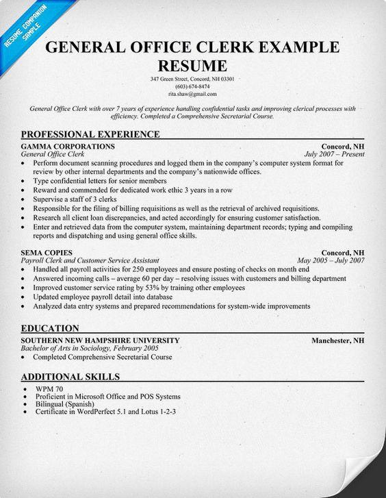 Office Clerk Resume. Extraordinary Office Clerk Resume Example