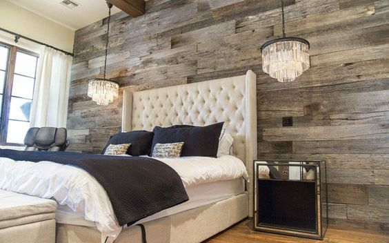 Tobacco Barn Grey Wood Wall Covering – Master Bedroom - Want this in my Master Bedroom - one full wall.. love the chandeliers also!:
