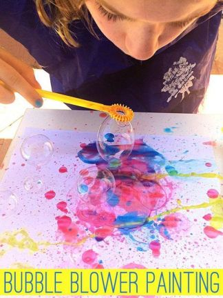 Using just two ingredients, this super fun bubble blower painting will have your kids spellbound! Great Spring and Summer activity for kids: